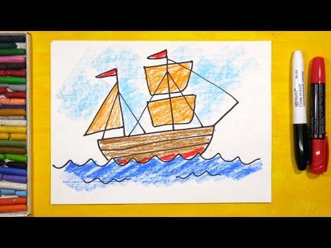 Как нарисовать Корабль. Урок рисования для детей от 3 лет | Раскраска для детей