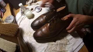 ASMR How to do maintenance shine for Allen Edmonds Larchmont wingtip shoes