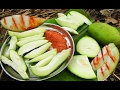 Green Mangoes Cheruku Rasam | Raw Mango Rasalu with Red Chili powder salt eating in Natural Life