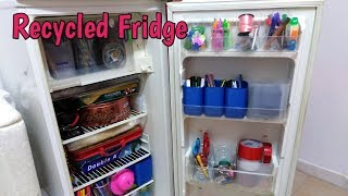 A Recycled Fridge as a Cabinet I Best Out of Waste I Recycled an old Refrigerator I Our Sweet  Mom