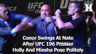 Conor McGregor Punches Nate Diaz; 209 Scuffle Follows At UFC 196 Face-Off (HD)
