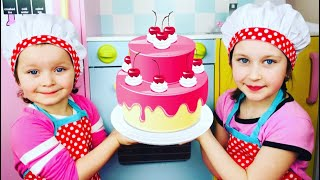 Bake a Birthday Cake! Sisters Cooking Pretend Play