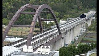 展望広場の高台から見下ろした将来は中央リニア新幹線となる山梨リニア実験線