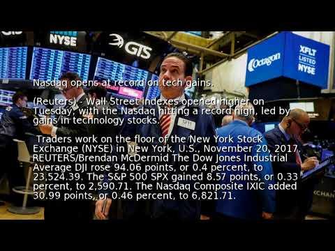 Nasdaq opens at record on tech gains