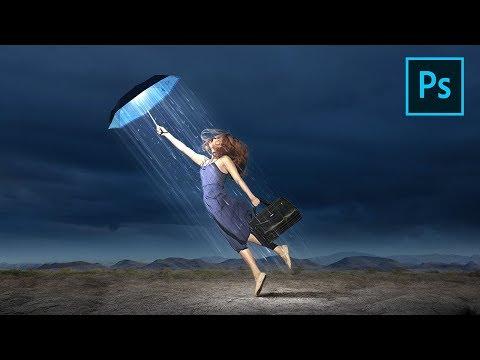 Photoshop Photo Manipulation | Fantasy Rainy Light | Photoshop Tutorial