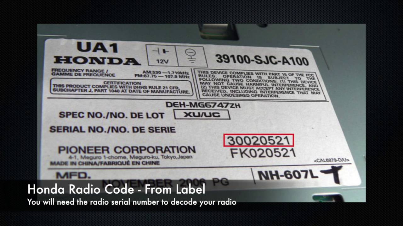 Honda Radio Codes From Serial Number Civic Accord Crv Youtube