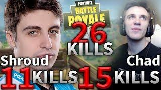 Shroud & Chad 26 Kills Duo Legendary Game 17 Fortnite Highlights