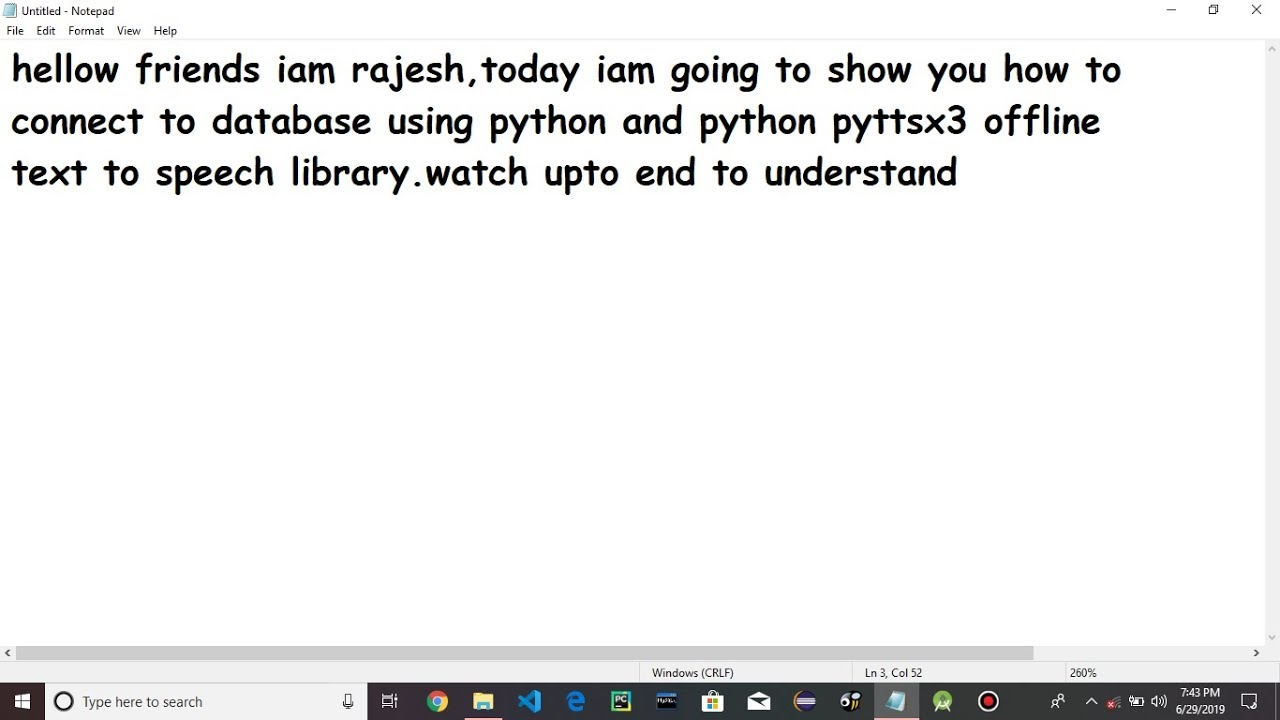 pyttsx3 python library and database connection using python
