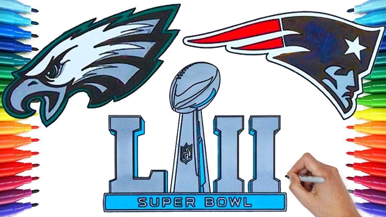Drawing Super Bowl LII, Eagles VS Patriots 2018   Drawing Coloring ...