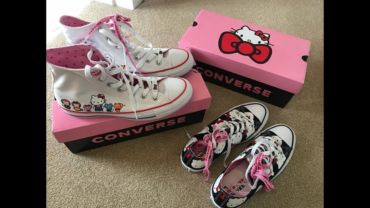 47bec0e18 Converse X Hello Kitty Unboxing & Try On - YouTube