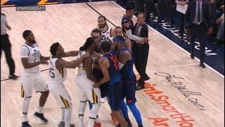 OKC Thunder vs Utah Jazz  All 11 fight/brawl scenes  ugliest game in years!