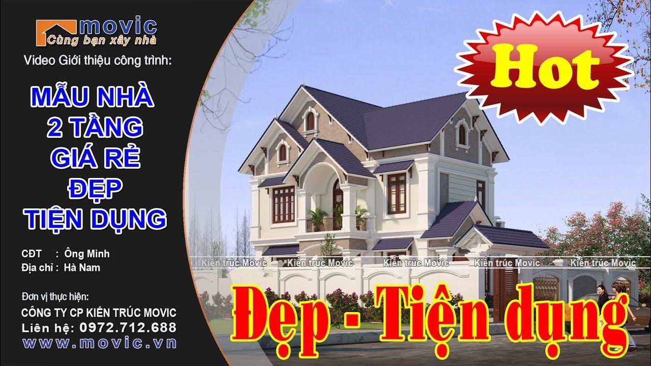 Mẫu nhà 2 tầng hiện đại giá rẻ mái thái đẹp xây ở nông thôn – MV1722