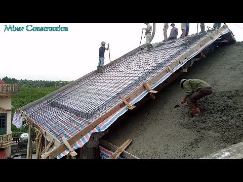 Construction Sloping Roof Using Mixer Truck - Latest Technologies Building Sloping Concrete Roof