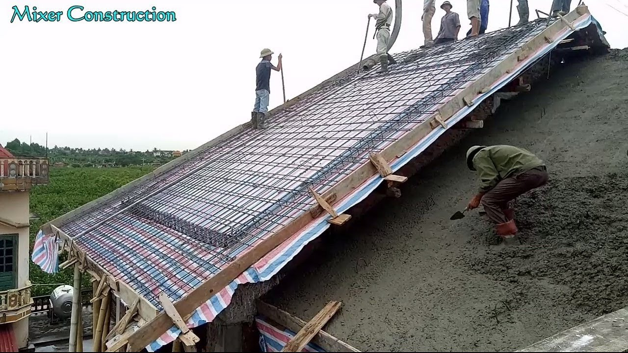 Construction Sloping Roof Using Mixer Truck Latest Te