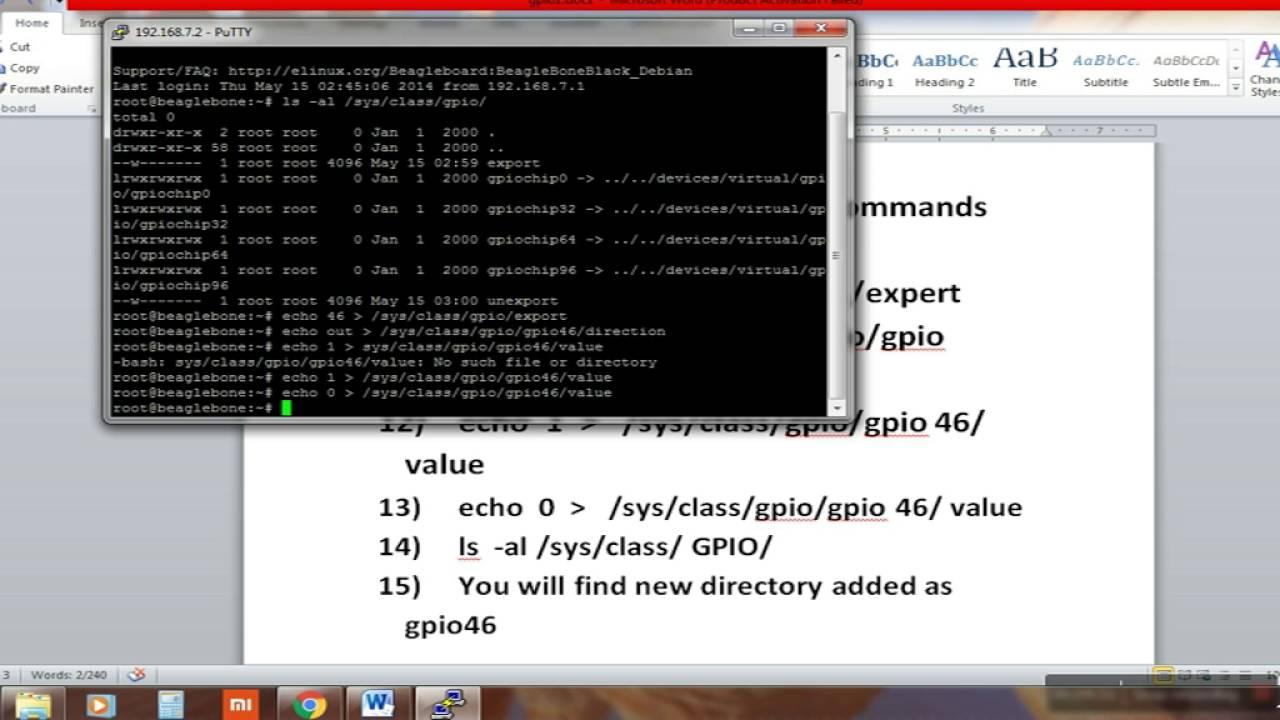 GPIO programming of beagle bone in kernel mode for LED