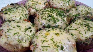 Фаршированные шампиньоны с сыром Вкусный рецепт грибов на сковороде Вкусно и Просто