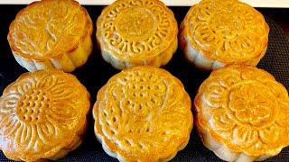 Công thức bánh trung thu nướng nhân đậu xanh,bí đỏ thơm ngon_Bếp Hoa