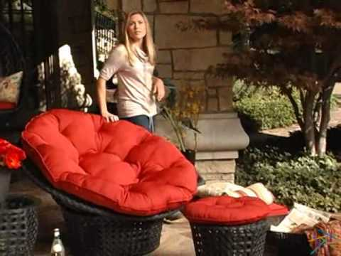 Haven All Weather Wicker Outdoor Papasan Chair Set   Product Review Video