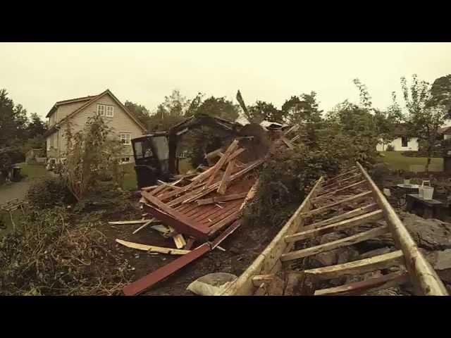 Building garage with excavator