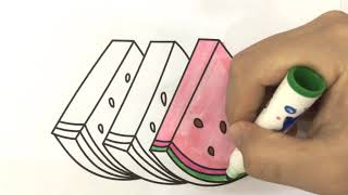 Coloring Book Watermelon, Sweet Juicy Fruit How to Draw Watermelon Art Colours for Kids