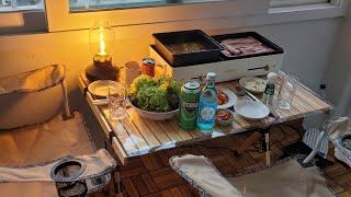 [vlog] 베란다 캠핑장에서 삼겹살 구워먹고  두부면…