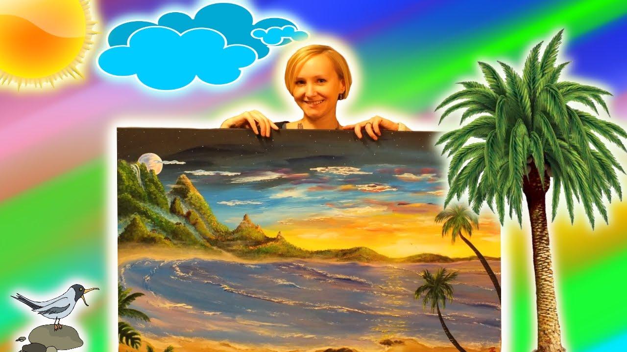 acrylmalerei  strand meer sonnenuntergang  youtube