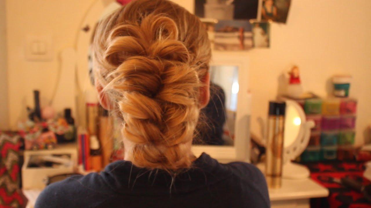 chignon rapide et facile a faire sur cheveux long - YouTube