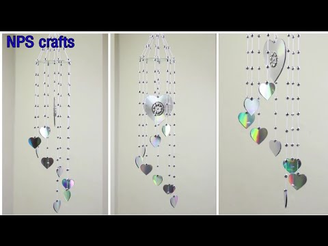 How to make Heart♥ wind chime with waste CD | DIY Room decoration ideas | Old cd craft | wall Hanger