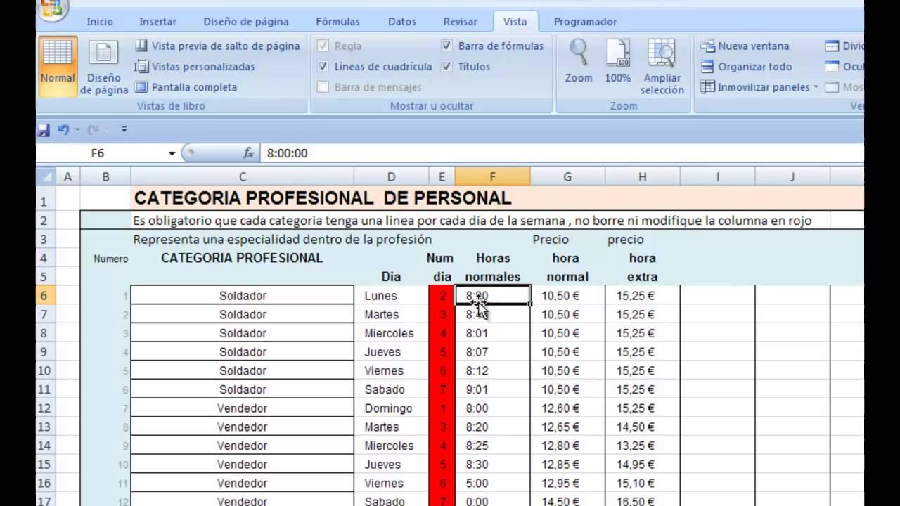 Como calcular horas extras en excel paso a paso parte 1 for Como hacer una nomina en excel con formulas