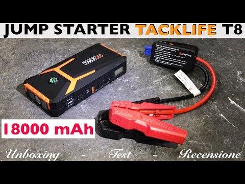 Recensione JUMP STARTER TACKLIFE T8 18000 mAh 12V. Booster X auto moto. Batteria scarica. Powerbank