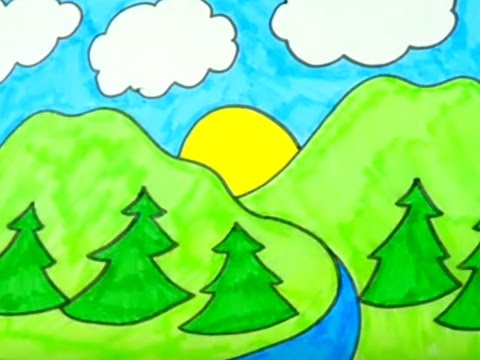 How To Draw Nature And Landscapes | Kids Coloring Videos