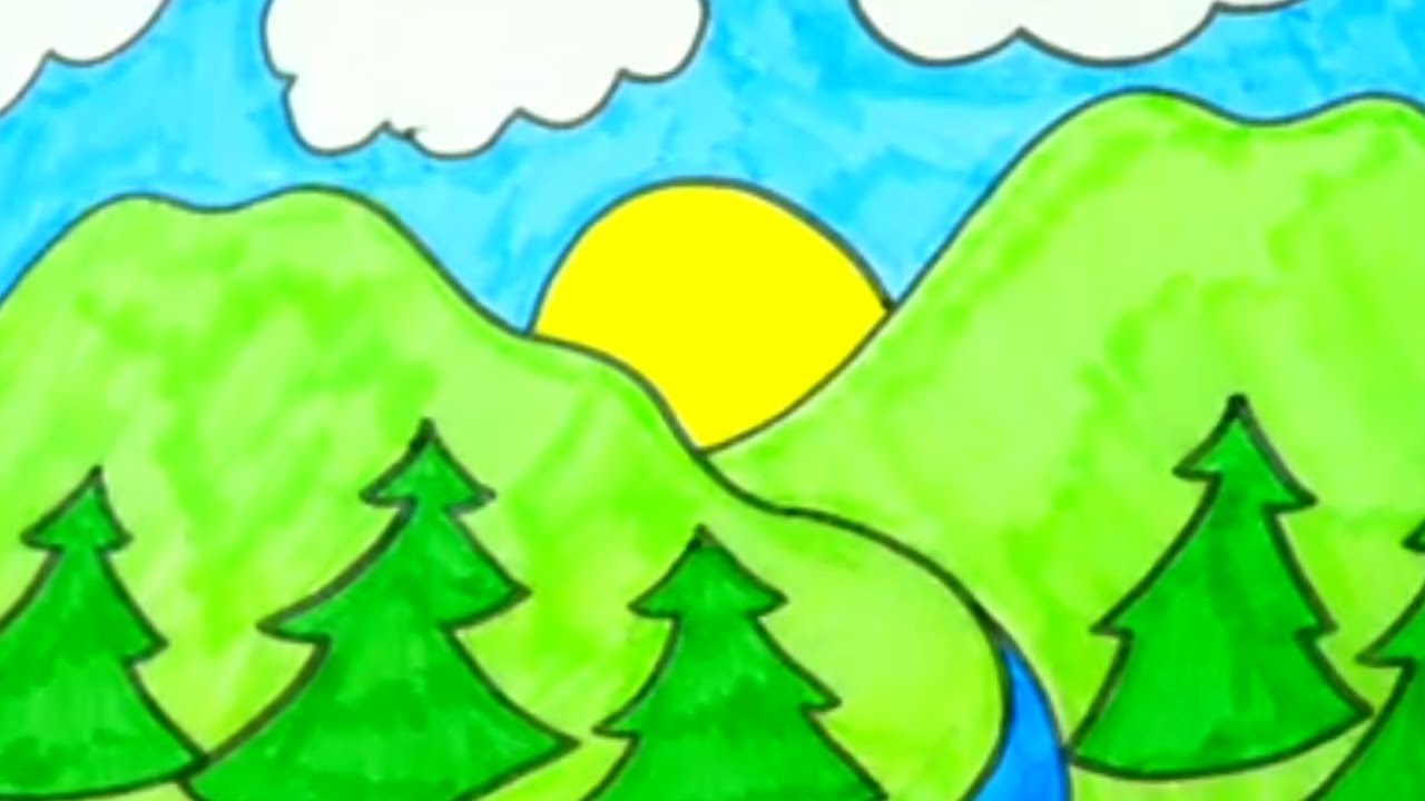 How To Draw Nature And Landscapes | Kids Coloring Videos ...