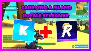 CARRYING A ISLAND ROYALE STREAMER 😂 | 15 KILLS DUO 🔥 | ROBLOX ISLAND ROYALE 🌴