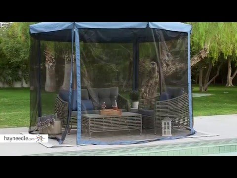 Steel Offset Patio Umbrella With Detachable Netting Product Review Video