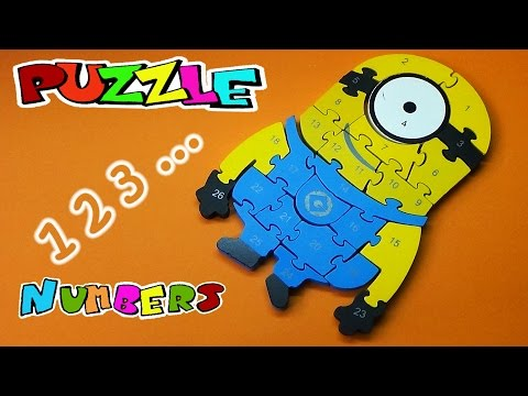 Learn NUMBERS with MINION Stuart Wooden Puzzle   Kids Learning Toy VOL 14