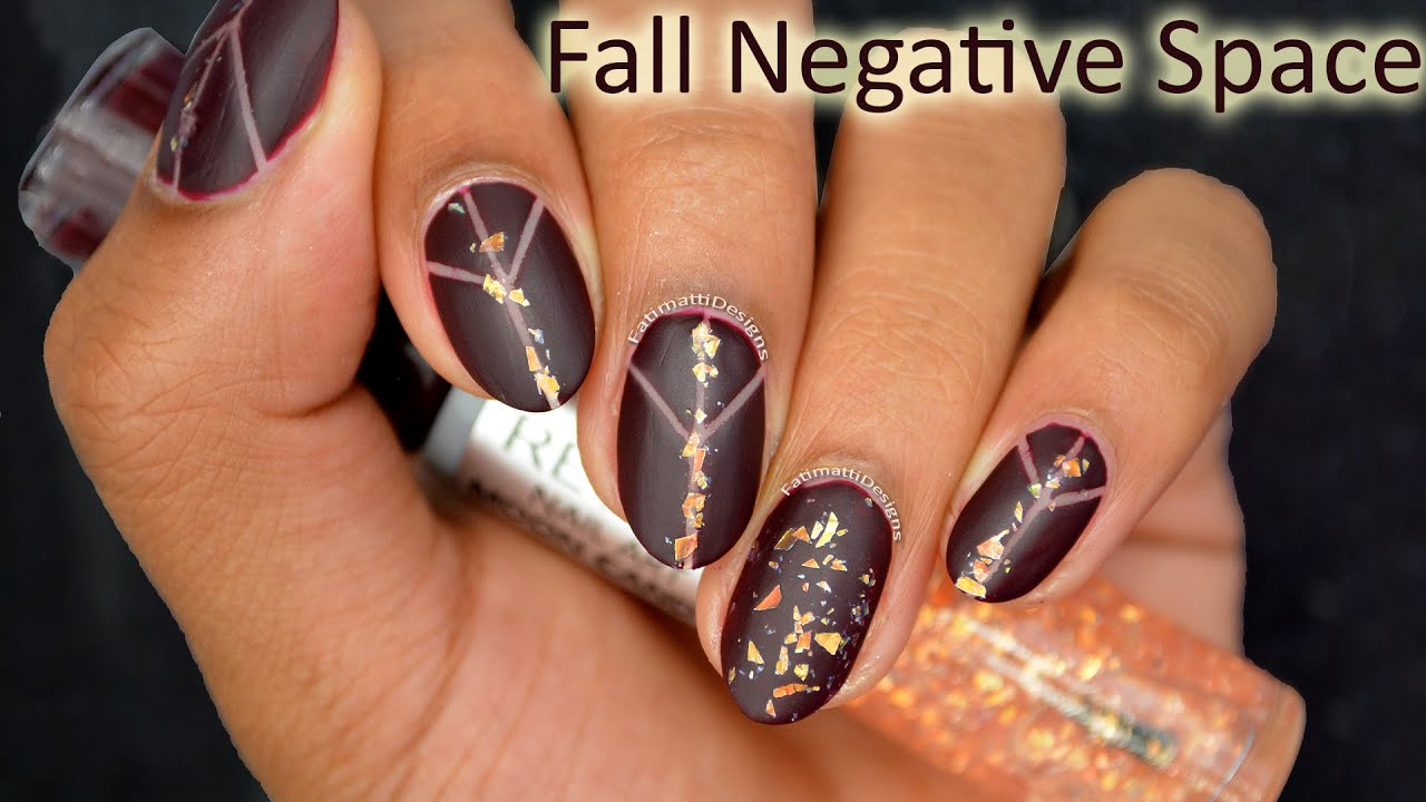DIY: Fall Inspired Negative Space Nail Art *Matte - YouTube