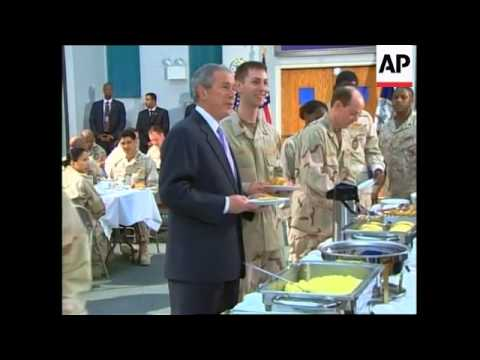 President Bush has breakfast with US Navy 5th Fleet