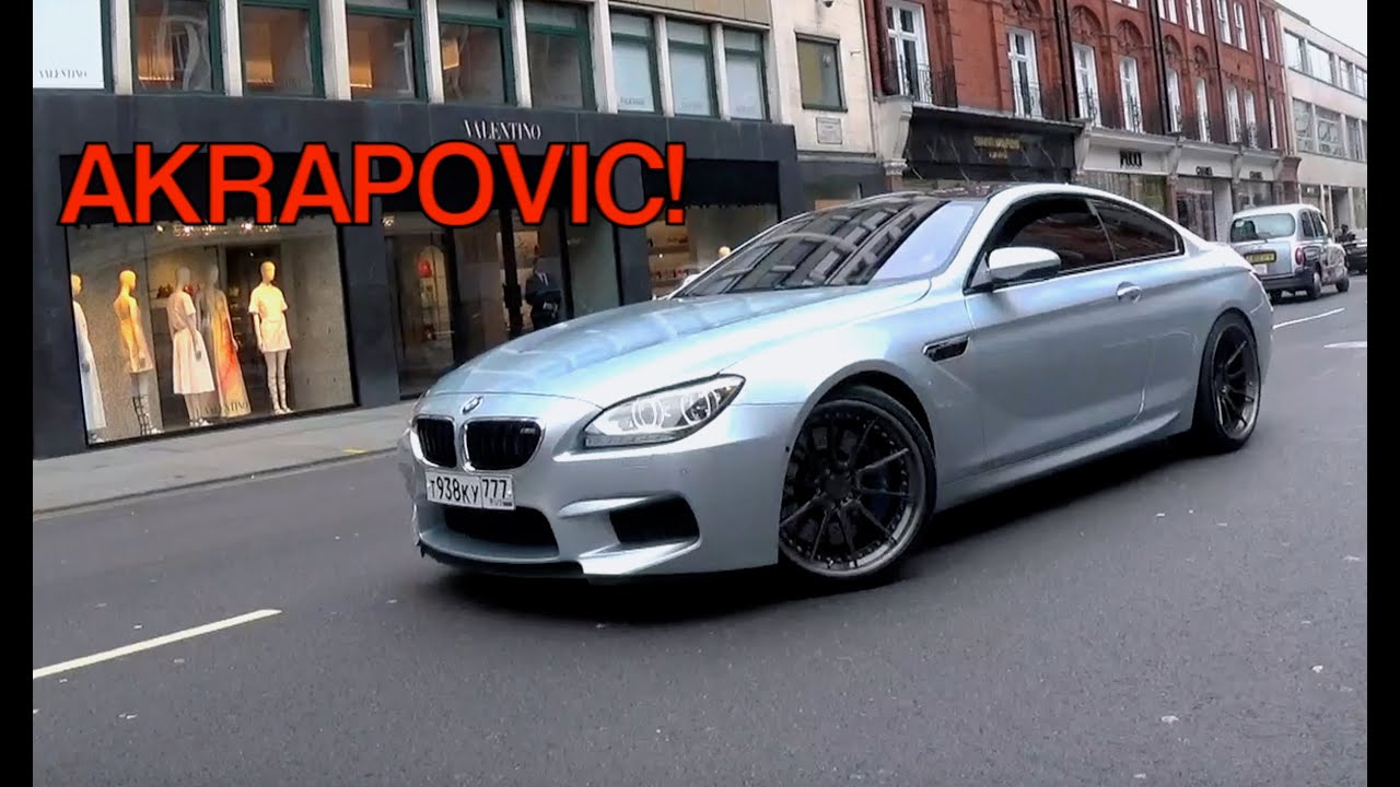 Russian BMW M6 w/Akrapovic Exhaust - Sounds & Driving in London