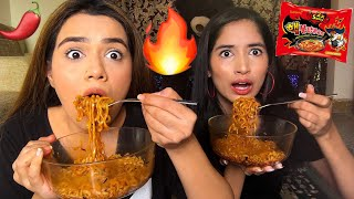 SPICY RAMEN NOODLES CHALLENGE WITH MY SISTER