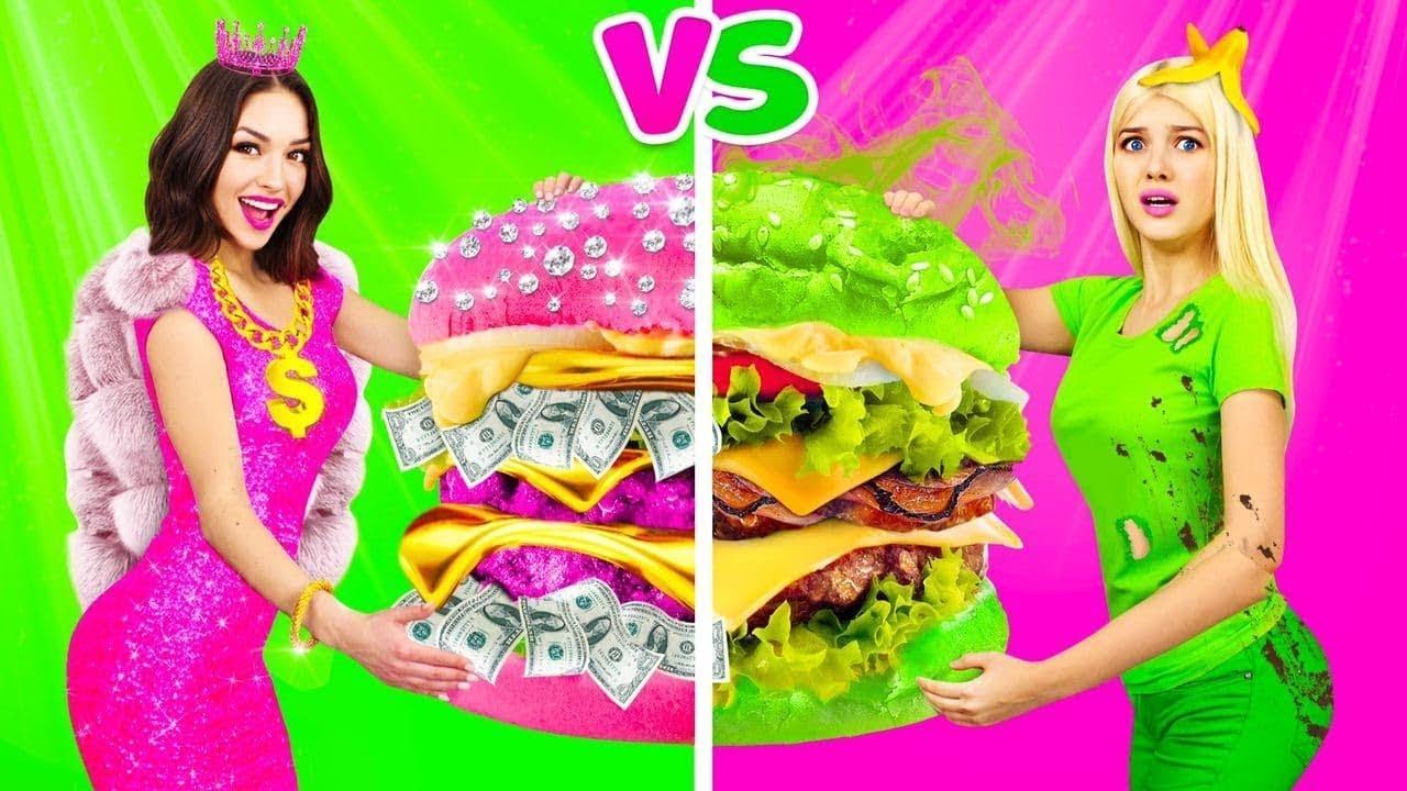 อาหารคนรวยสีชมพูกับอาหารคนจนสีเขียว || การท้าปะลองสุดบ้าบิ่น ระหว่างคนรวยกับคนจน โดย RATATA
