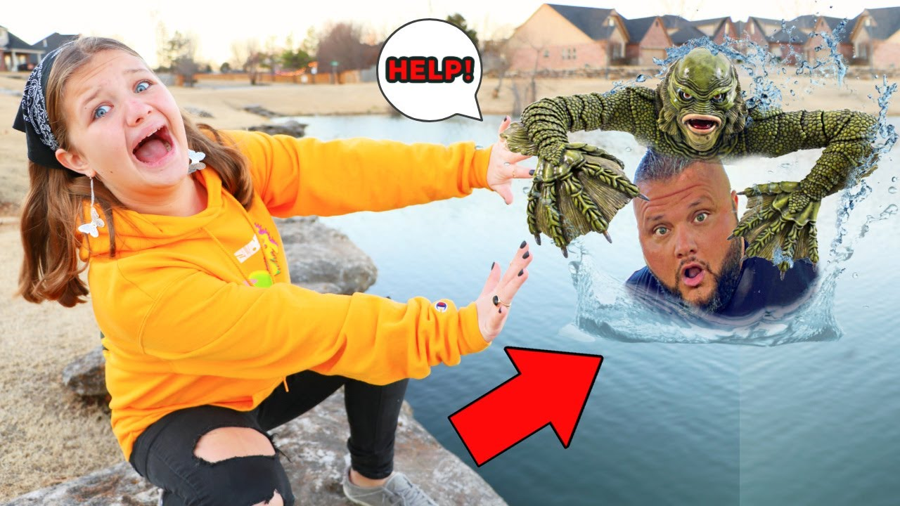 POND MONSTER TAKES OUR DAD! AUBREY & CALEB SEARCH for THE POND MONSTER & MISSING DAD!