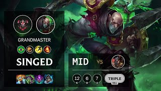 Singed Mid vs Twisted Fate - BR Grandmaster Patch 11.12