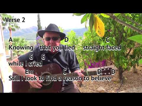 Reason To Believe - Tim Hardin/Rod Stewart - easy chord guitar lesson on-screen chords and lyrics