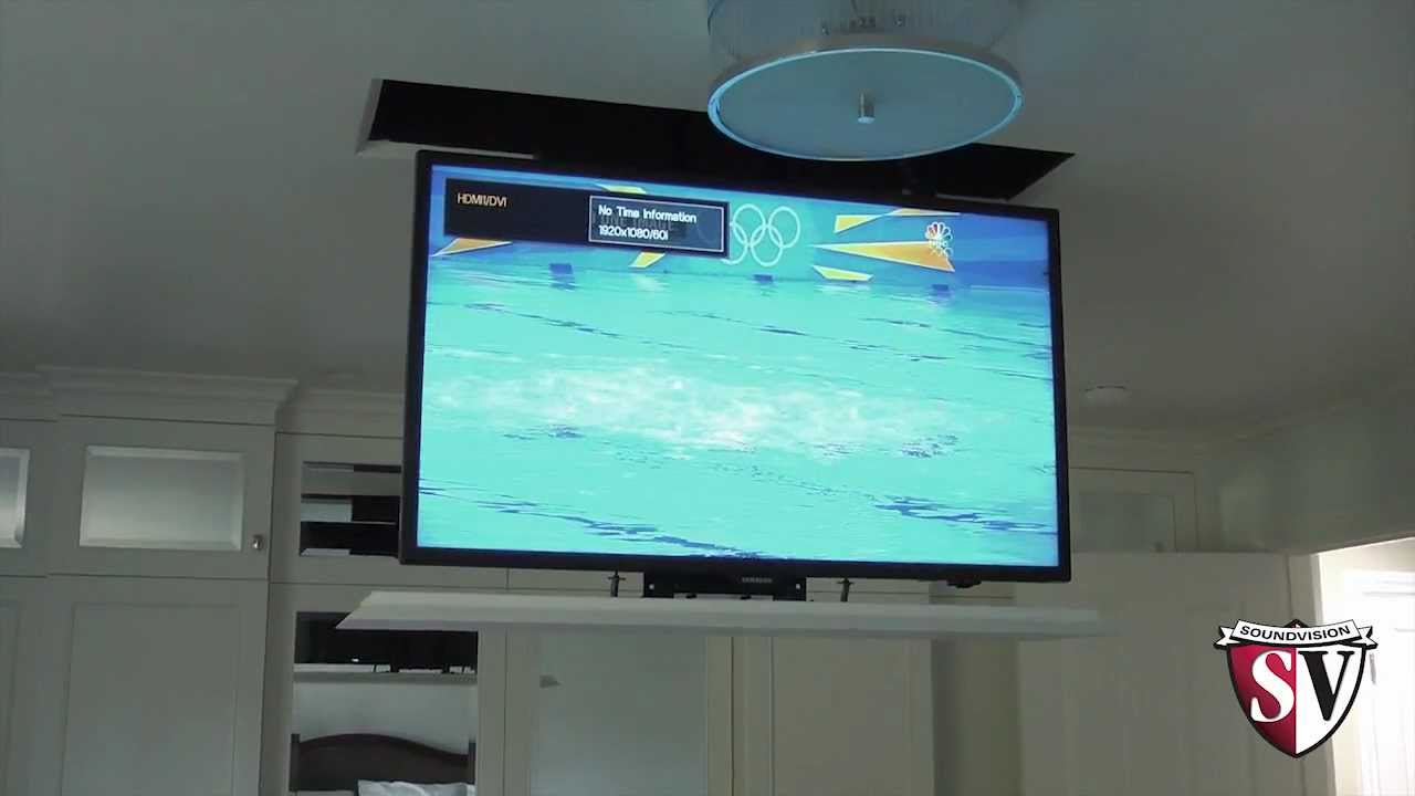 Drop down television lift mount youtube for Motorized ceiling tv mount