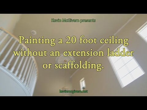 Without Drips!! How to edge and paint a 20 foot ceiling without scaffolding or an extension ladder