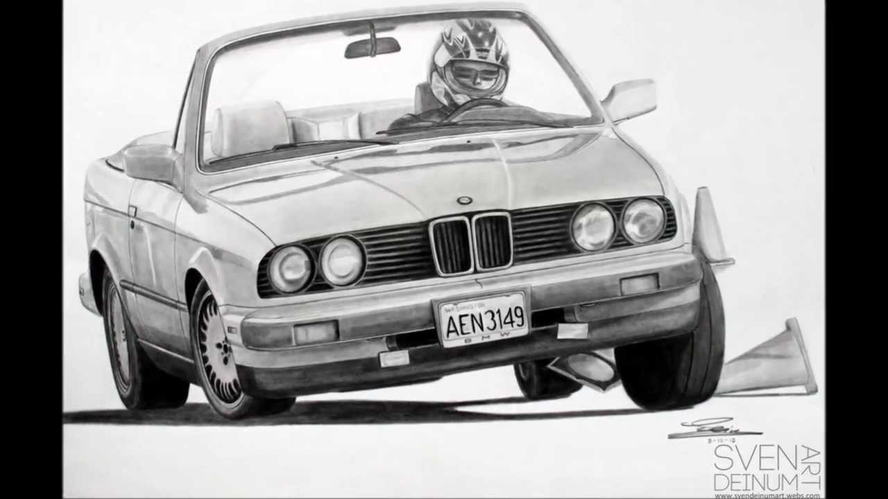 Bmw 3 Series E30 Pencil Drawing Youtube