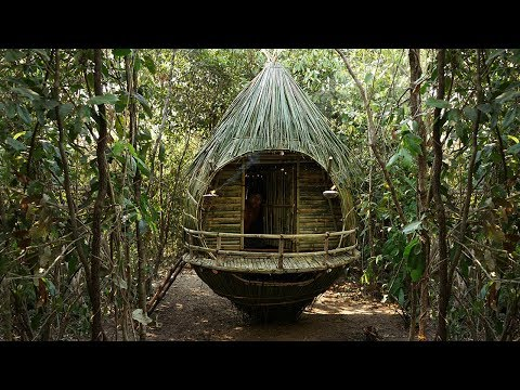 Build Most Luxurious Bird Nest House From Coconut Palm Leaf And Bamboo