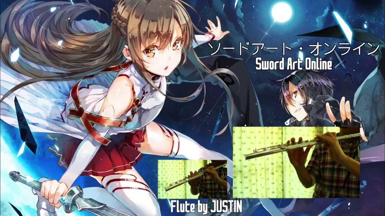 Sword Art Online OP / Crossing Field / Flute: JUSTIN - YouTube