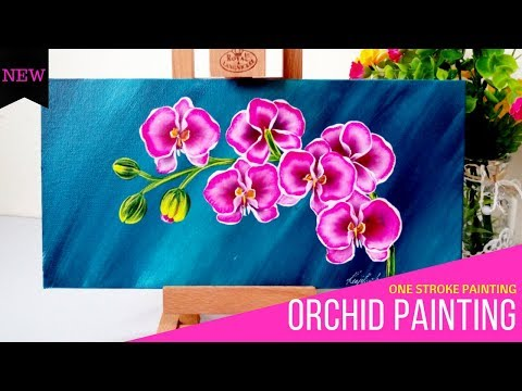 How to paint Orchids | Canvas Painting | One stroke painting Orchids | DIY