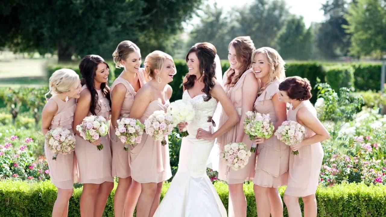 Bride with Bridesmaids in Rose Garden - YouTube